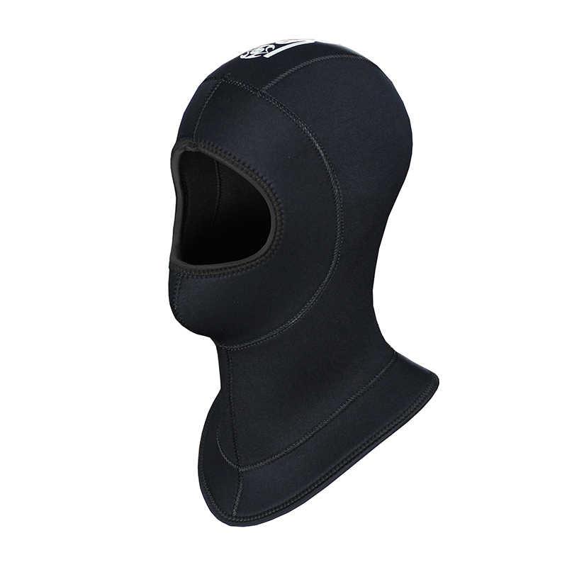 Pria wanita slinx 5mm neoprene scuba diving spearfishing renang snorkling leher topi penuh masker wajah tahan air hangat hood cap