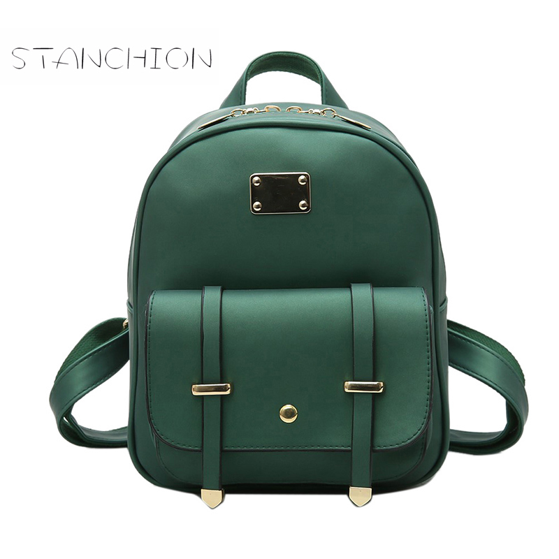 Backpack Faux Leather Women Daily Solid Zipper Fashion Vintage Multifunction Ladies Shoulder Bag Rucksack Girls School