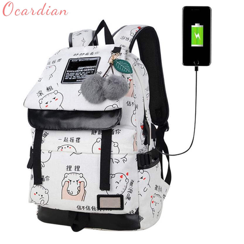 2017 Female Fashion Letters Printing Backpack usb Bag for Laptop Women Travel Bags White Canvas School Backpack for Girls Oct25