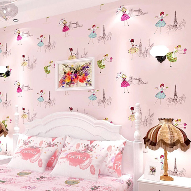 Cartoon Children Room Non-woven Wallpaper For Kids Room Papel De Parede 3D Ballet Girl Princess Room Bedroom Wallpaper Roll Pink