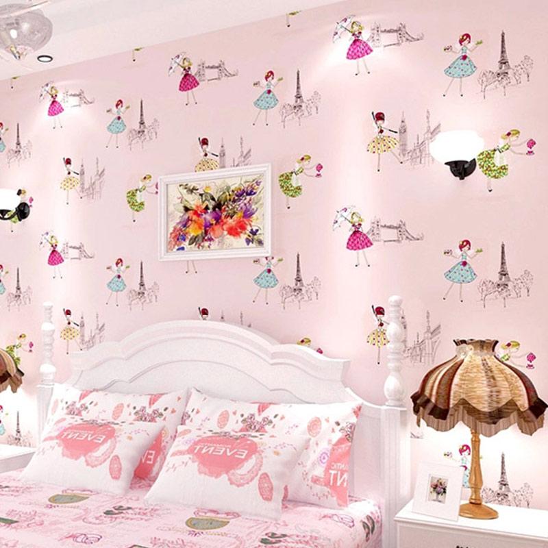 Cartoon Children Room Non Woven Wallpaper For Kids Room Papel De Parede 3D  Ballet Girl Princess Room Bedroom Wallpaper Roll Pink