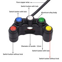 New Universal Motorcycle Aluminum Five-color Five-position Faucet Switch ON OFF Button for Moto Motor ATV Bike