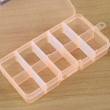 * Plastic 10 Grids Adjustable Jewelry Beads Pills Nail Art Tips Storage Box Case for Cosmetic Jewelry Pills Rings Storage 0.577(China)
