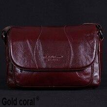 Женская сумка из натуральной кожи золотого и кораллового цвета; Женская сумка мессенджер; Винтажная женская сумка через плечо; Новинка 2018 года