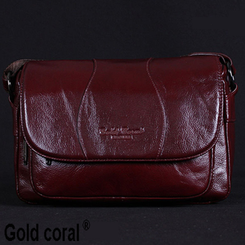GOLD CORAL Women Handbag Genuine Leather Bags Female Messenger Bag Vintage Ladies Crossbody Shoulder Bags Sac a main 2018 New