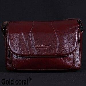 Image 1 - GOLD CORAL Women Handbag Genuine Leather Bags Female Messenger Bag Vintage Ladies Crossbody Shoulder Bags Sac a main 2018 New