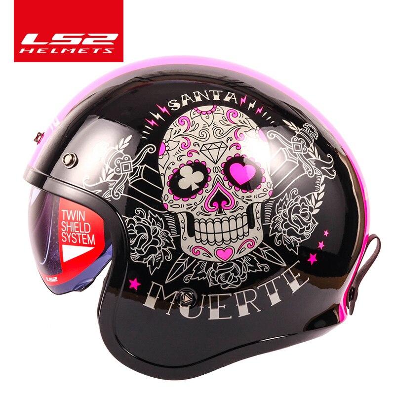 LS2 OF599 helmet Spitfire motorcycle helmet jet Vintage helmet Open face retro 3/4 half helmet casco casque moto with 3 buttons