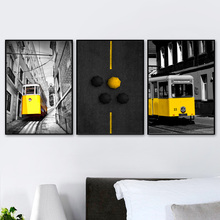 Gohipang Wall Art Canvas Painting London City Yellow Track Tram Nordic Posters And Prints Vintage Pictures For Living Room