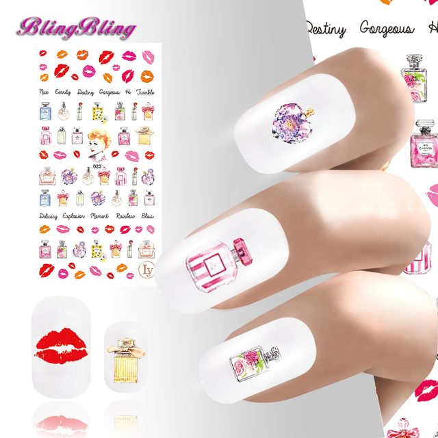 2pcs Diy Adhesive Manicure Nail Sticker Decals Kiss Love Style Wraps Instant Waterproof