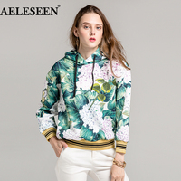 Fashion 2018 Winter Autumn New Hoodie Long Sleeve Green Flower Leaf Print 3D Embroidery Beaded Luxury