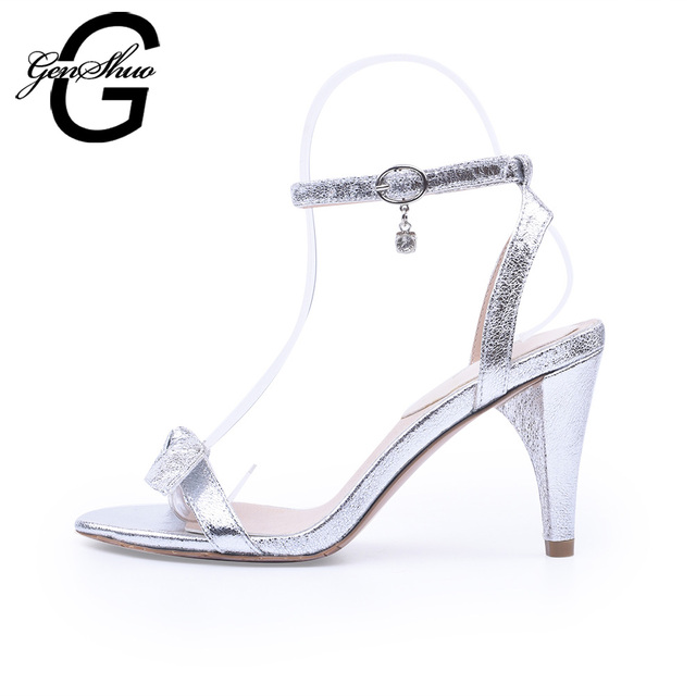 58161216df7 GENSHUO Silver Gold Sandals Women Shoes Summer High Heeled Sandal Ankle  Strappy Lace Up Butterfly Knot Crystal Sandal