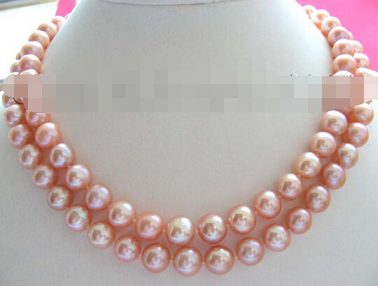 xiuli 001830 Natural 9-10mm Round Pink Pearl Necklace 14KGP