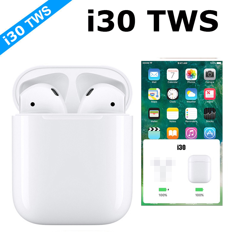 New I30 <font><b>TWS</b></font> Pop-up Bluetooth 5.0 Earphone With Wireless Charging 6D Stereo Super Bass Headset Touch Control Earbuds image
