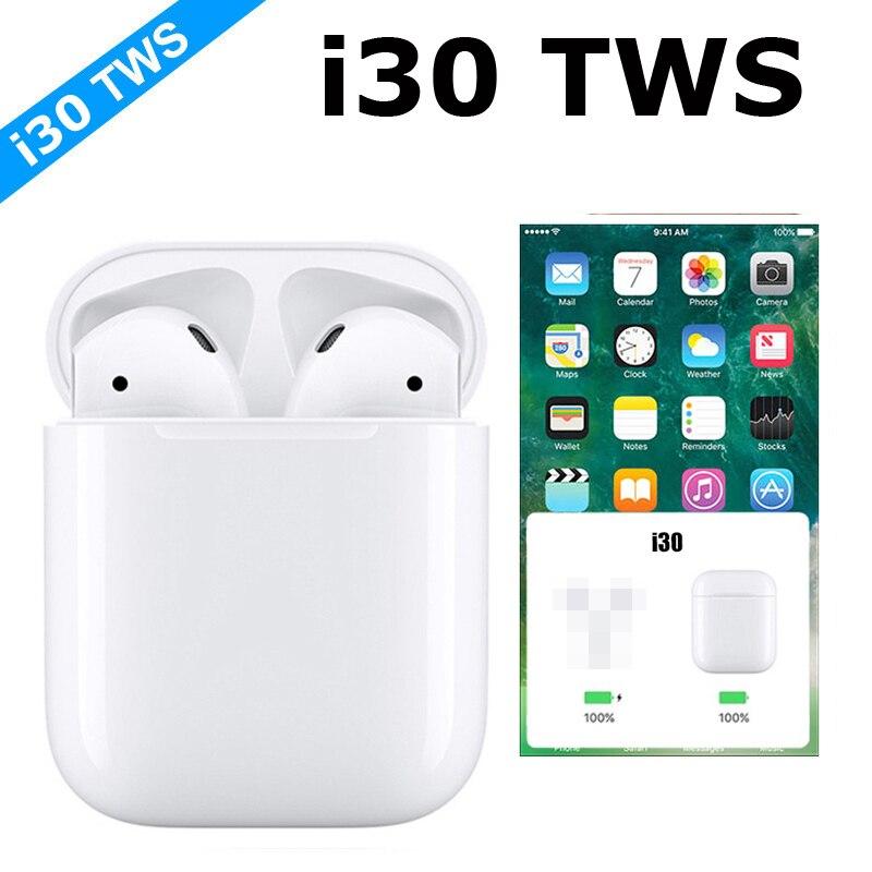Nova I30 TWS 6D Pop-up 5.0 Fone de Ouvido Bluetooth Com Carregamento Sem Fio Stereo Headset Super Bass Fones de Ouvido Controle de Toque