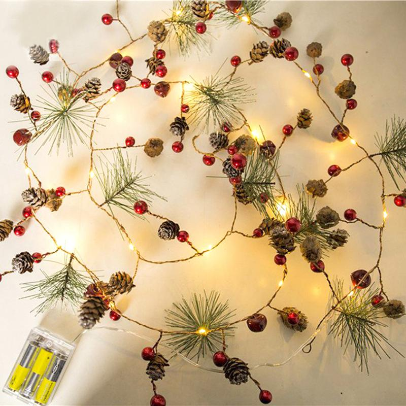 Kaigelin Red Berry Christmas Garland Lights LED Copper Fairy Lights Pinecone String Lights For Xmas Holiday Tree Home Decoration
