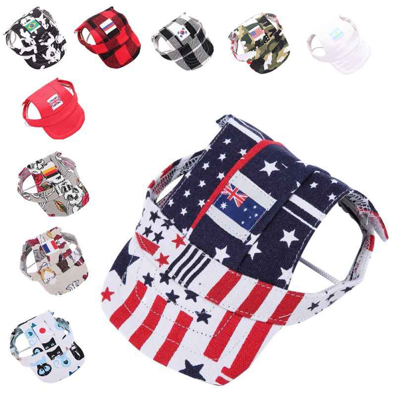 79af87e01f1 New Dog Printed Hat With Ear Holes Summer Canvas Camouflage Baseball Cap For  Small Pet Dog