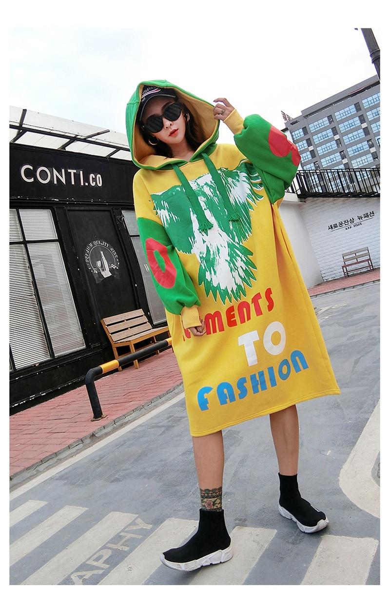 ストリートドレス 2019 新韓国女性ファッションプリントルー膝ロングフード付きドレス K ポップゆるいカジュアルなスウェットシャツドレス  グループ上の レディース衣服 からの ドレス の中 2