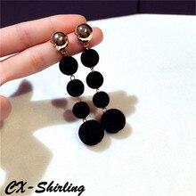 CX-Shirling Quality Big Size Long Earring Women Ethnic Bohemian Dangle Earrings Black&White Ball Earrings