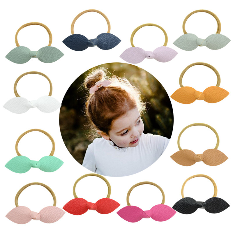 Approx 4 Kids Cute Artificial Leather Bowknot with Elastic Hair Band Bow Tie Girls Hairband Rope Women Accessories