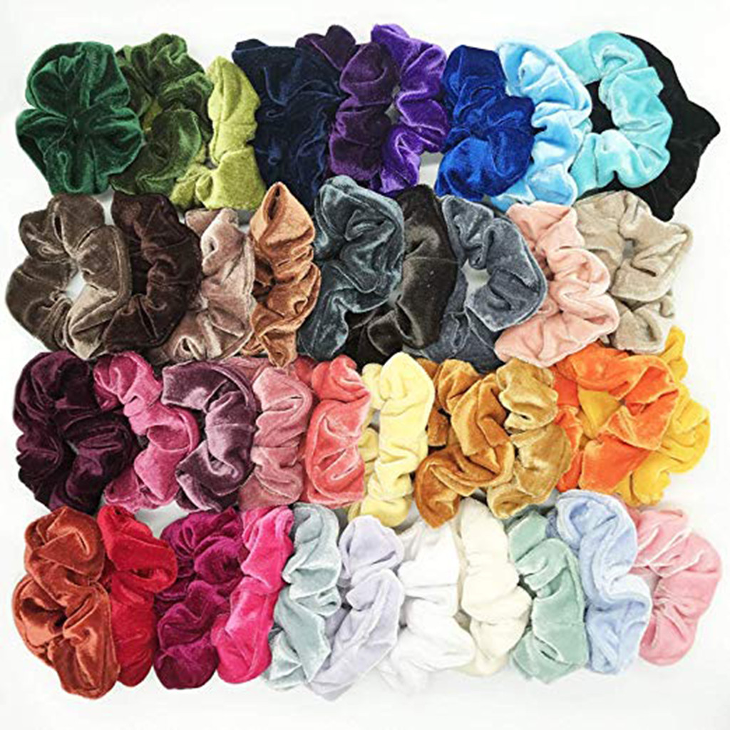 40 Pcs Vintage Hair Scrunchies Stretchy Velvet Scrunchie Pack Women Elastic Hair Bands Girl Headwear Plain Rubber Hair Ties 10.2