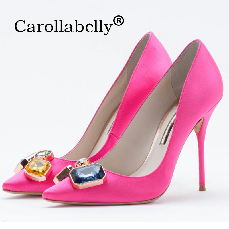 Carollabelly New Brand Women Evening Shoes Woman High Heels 10CM Wedding Heels Rose Red Women Pumps Brand Party Shoes For Women