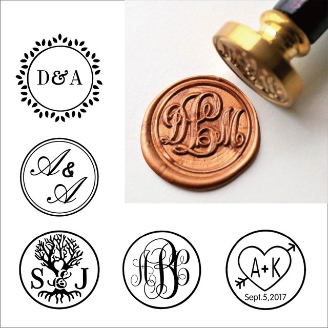 Custom Rustic Three Initial Monogram Wax Seal StampCustom Stamp Kitpersonalised Wedding Invitation Sealswedding Gift