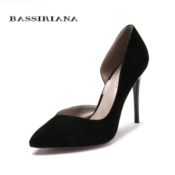 High heels pumps Natural suede leather New spring summer 2017 Red Black 35-40 Fashion Basic shoes woman Free shipping BASSIRIANA 4