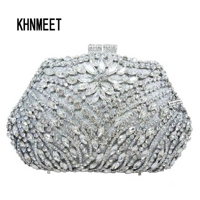 Silver Evening Bag Luxury Crystal Clutch Gold Rhinestone Party Purse Female Pochette Women Wedding