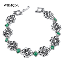 WBMQDA Vintage Green Bracelet For Woman Ancient Silver Color Holiday Beach Bohe Jewelry Femme Pulseras Mujer