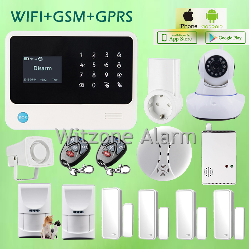 Smart Home Alarm System G90B Wifi Alarm IOS Android APP with Smart Power Socket and Wireless HD IP Camera, DHL free shipping