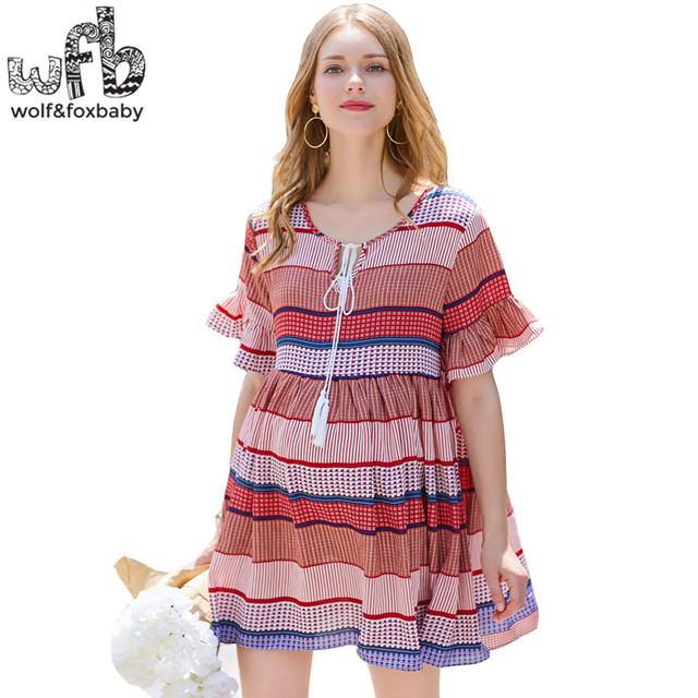 Varejo mulheres grávidas dress tamanho grande half-manga com decote em v slim fit tarja chiffon saia de moda verão