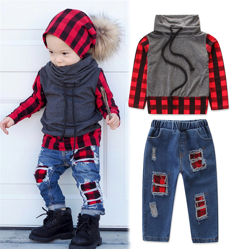 Autumn Baby Boy Clothes Boutique Kids Clothing Long Sleeve Red Plaid Printing Tops+jeans 2pcs Toddler Boys Clothing Set 1-5Y