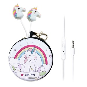 New Cartoon Unicorn In-Ear Earphones Stereo Wired Earbuds Earphone With Microphone With Coin Case 3.5MM AUX For Phone PC MP3 4