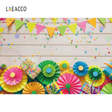 Laeacco Wooden Plank Handmade Paper Flowers Children Photography Backgrounds Customized Photographic Backdrops For Photo Studio(China)