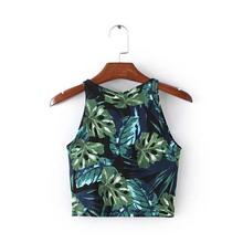 Women's Sexy Leaf Print Floral Tops Tees 2018 Summer T shirt Ladies Casual Sleeveless Vest Crop Tops T-Shirt 4 Colors SH196