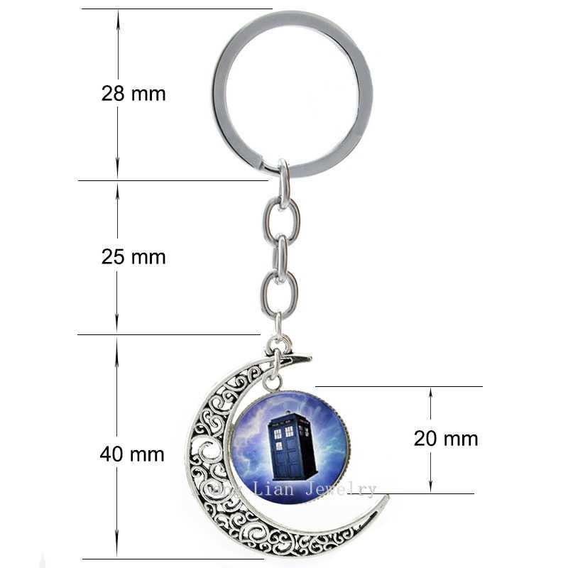 Bergaya Dr Yang Menyebut TARDIS Gantungan Kunci Menawan Ungu Doctor Who TARDIS Bulan Liontin Gantungan Kunci Keren Penggemar Hadiah Ide T177