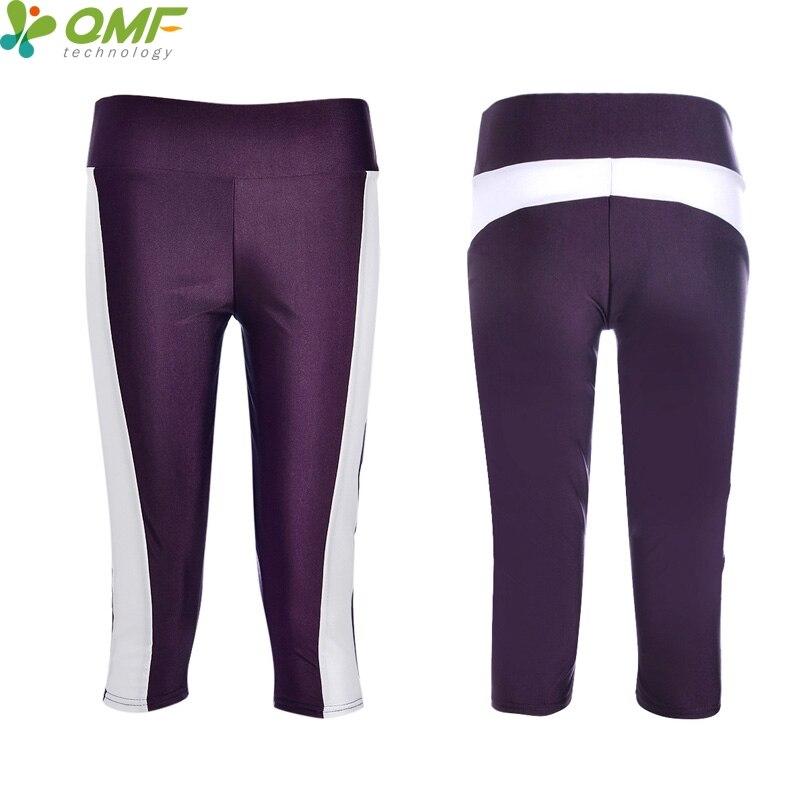 Casual Cropped Leggings Frauen Blau Aktive Line Slim Workout Caprihose Weiss Hohe Taille Fitness 3//4 Länge Hosen Streifen