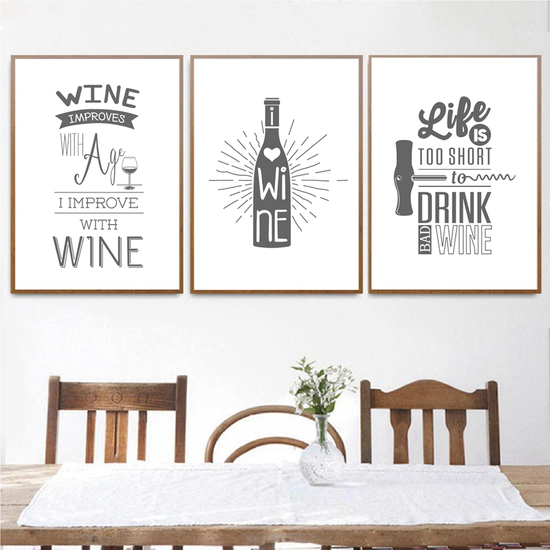 Black And White Wine Beer Poster Wall Art Decor Nordic Kitchen