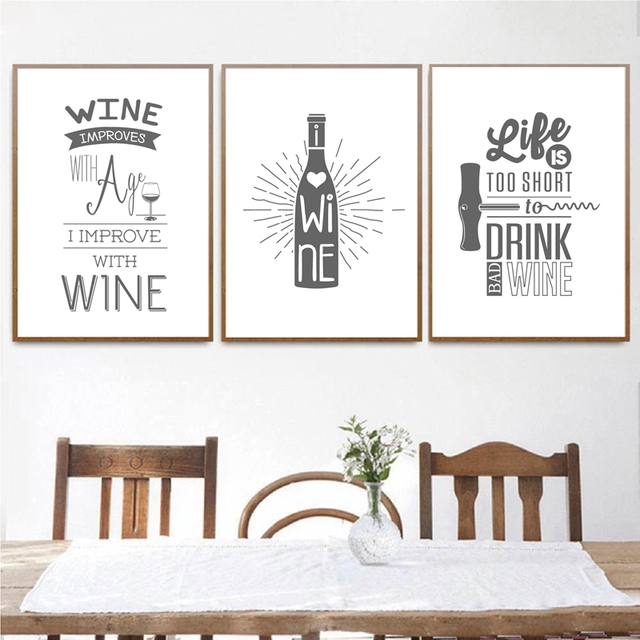black and white wine beer poster wall art decor nordic kitchen wall