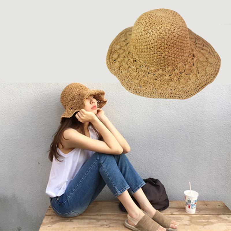 Fashion hot grass cap sun hat woman summer beach straw braid strawhat sun-shading hat