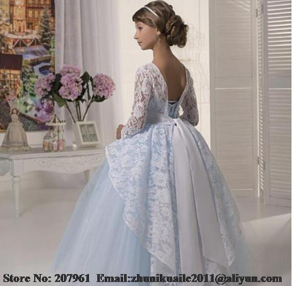 c0d180549c8 Cheap New 2017 Lace Long sleeve Flower Girls Dresses With Sashes Ball Gown  Tulle Puffy Cute Light Blue Girls Pageant Dresses