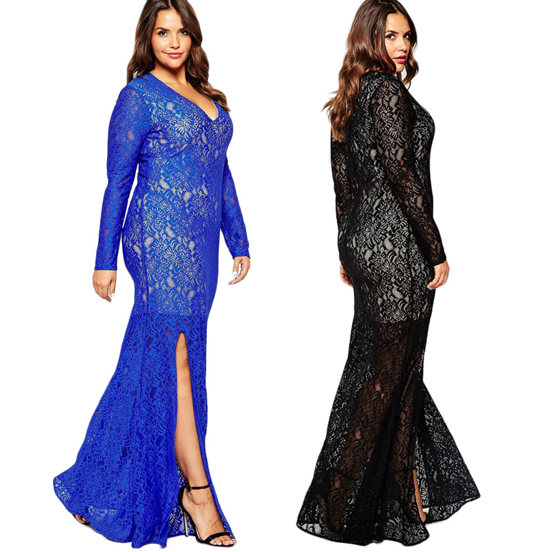b615b1755d10 Magnifique Bleu Noir Col V Manches Longues Fente Latérale Dentelle Longues  Femmes Robe Sexy Sheer Maxi Robe Plus La Taille robes 6XL 7XL 8XL