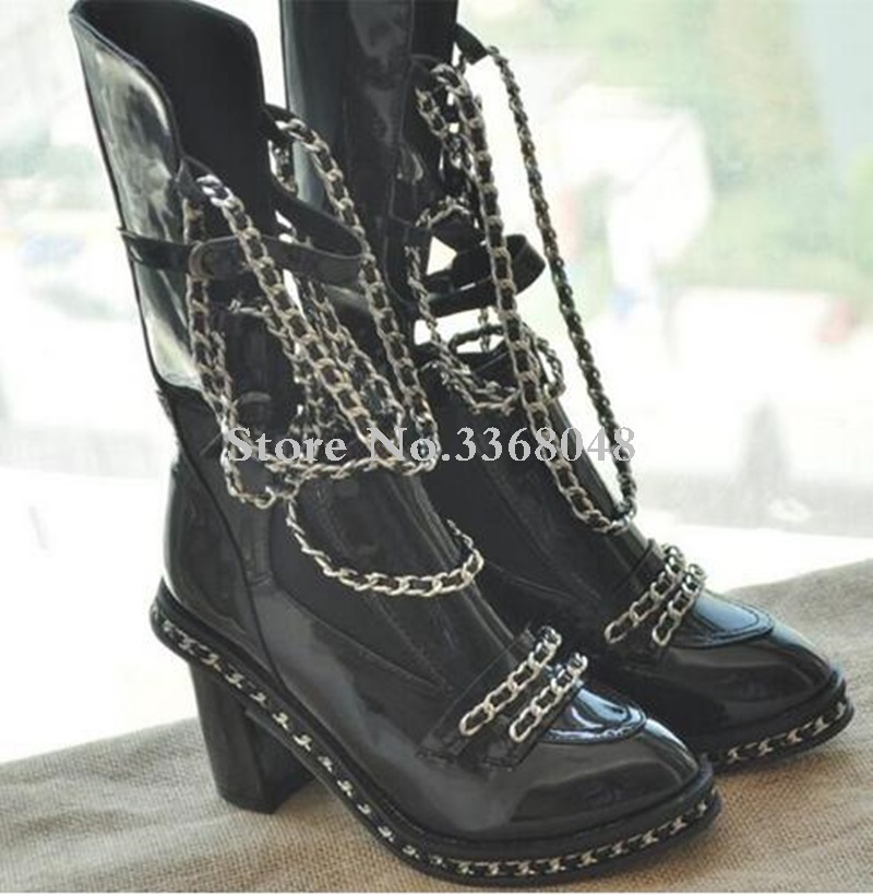 2019 Fall Winter Ankle High Black Motorcycle Boots Shoes Women Chained Short Boot Chunky High Heels Big size 432019 Fall Winter Ankle High Black Motorcycle Boots Shoes Women Chained Short Boot Chunky High Heels Big size 43