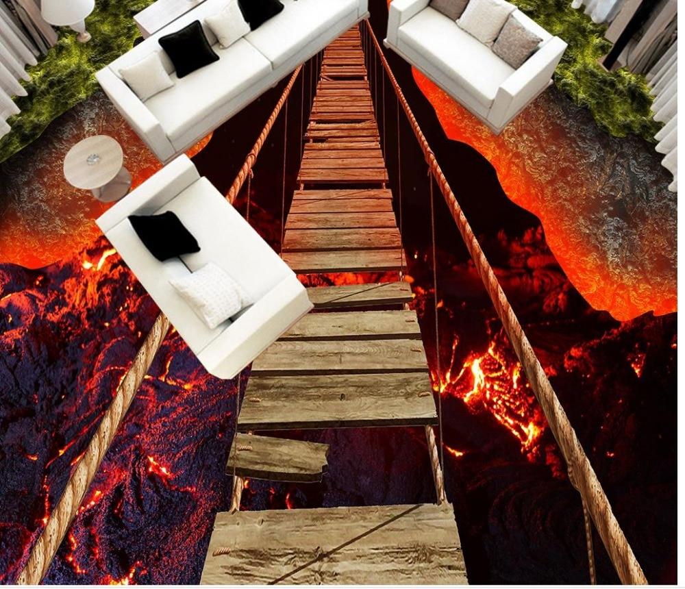 Custom Photo Floor Wallpaper 3D Stereoscopic Bridge volcanic lava 3D floor 3D Mural PVC Wallpaper Self-adhesion Floor Wallpaer custom photo waterproof floor wallpaper sea ice to crack the bathroom 3d mural pvc wallpaper self adhesion floor wallpaer