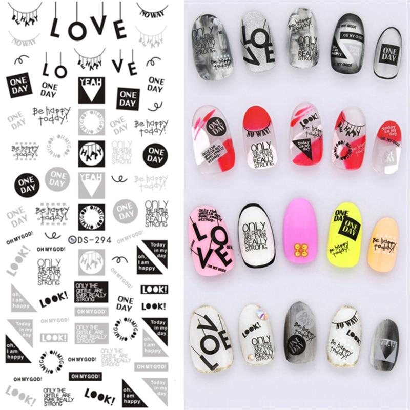 1 Sheet Cattie Girl Love English Nail Sticker Nail Art Water Decals for UV  Gel Nails 650a36da6a06