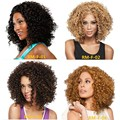 African fashion lady hair Golden curls for Black women Hot sale Heat resistant fiber synthetic wigs In the bangs Long curly hair