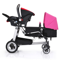 New Design KDS twins strollers car seat and stroller combined cars 0 4 years used light twin prams