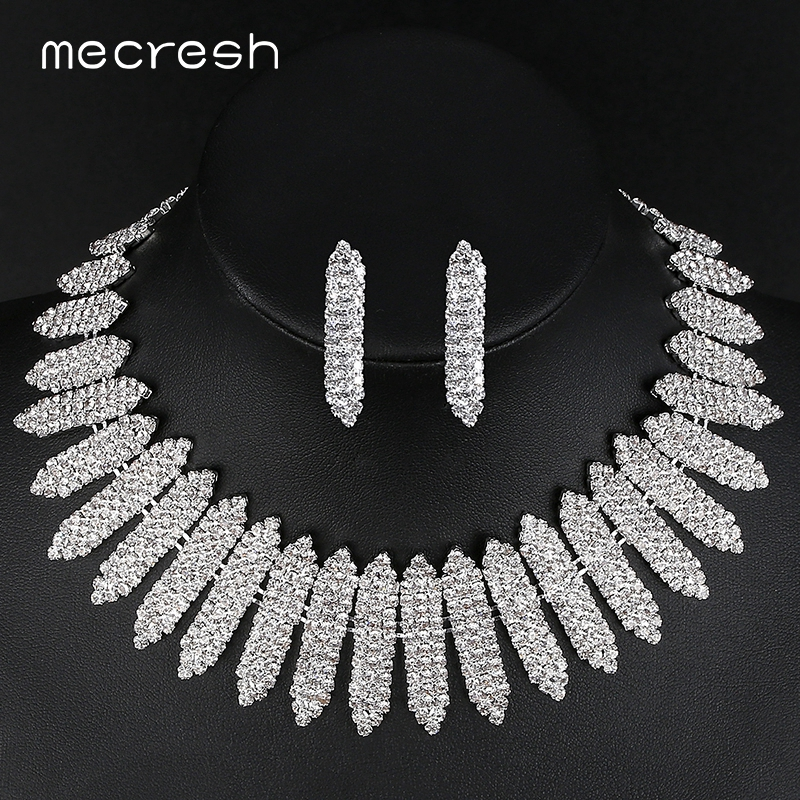 Mecresh Crystal African Wedding Jewelry Sets for Bride Clear Geometric Rhinestone Necklace Set 2018 Engagement Jewelry MTL477 стоимость