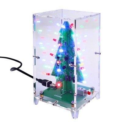 Рождественская Елка СВЕТОДИОДНОЙ Вспышкой Комплект 3D DIY Комплект Электронных Учебных Красочные Огни 7 Цветов Подарок