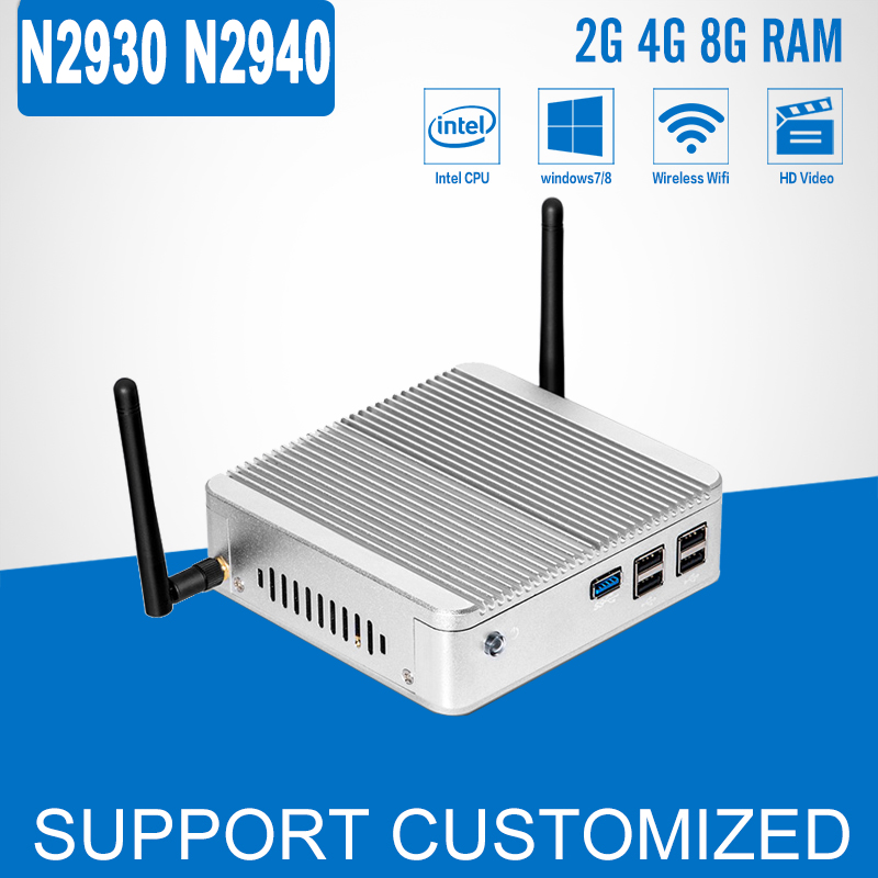 Mini PC Celeron N2930 N2940 Quad Core Fanless Windows 10 Linux Mini Computer DDR3 RAM HTPC HDMI Household Desktop PC kingdel new arrival intel i3 7100u fanless mini pc windows 10 linux desktop computer 4k htpc hdmi vga max 16g ram no noise